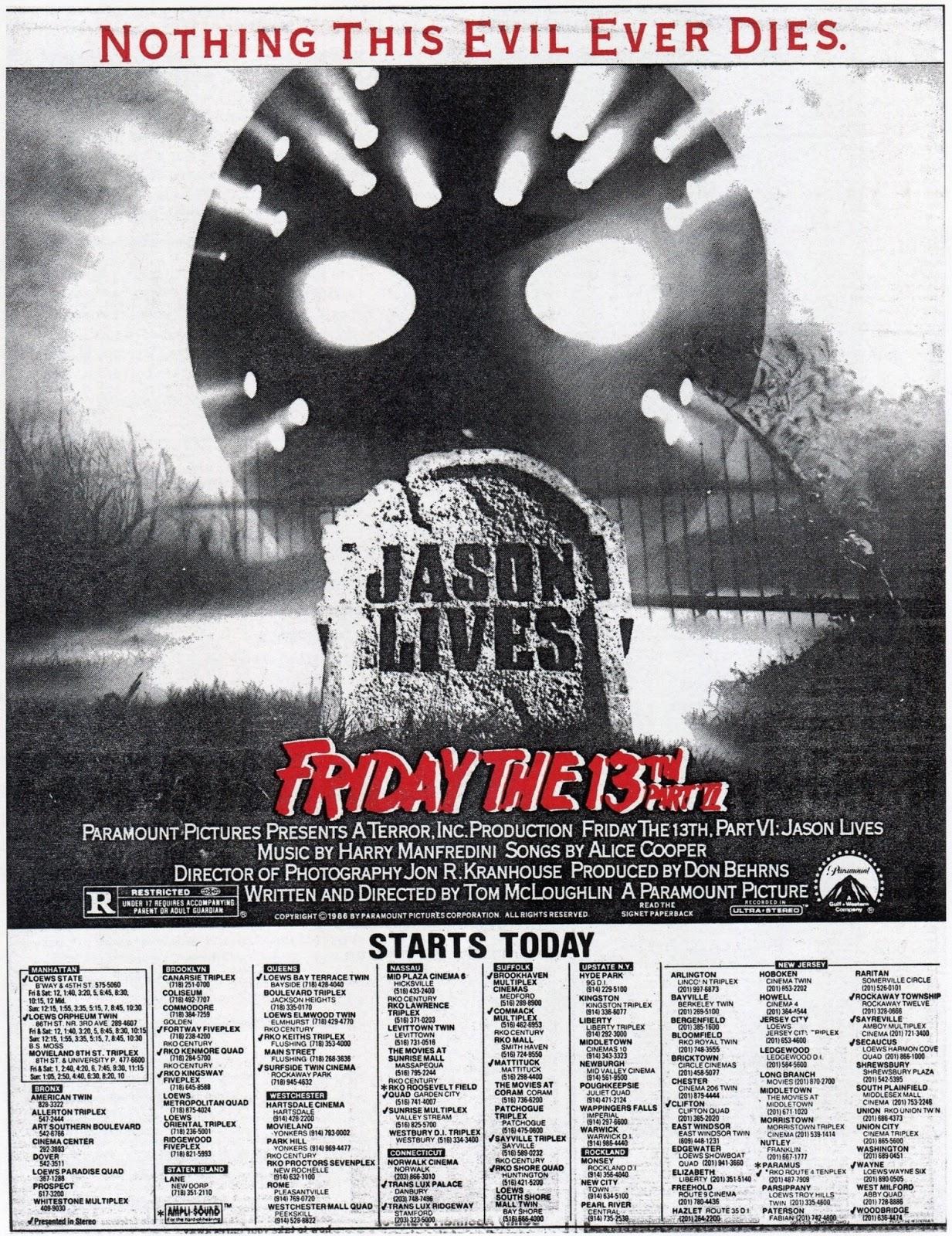 Jason Lives! theatre ad