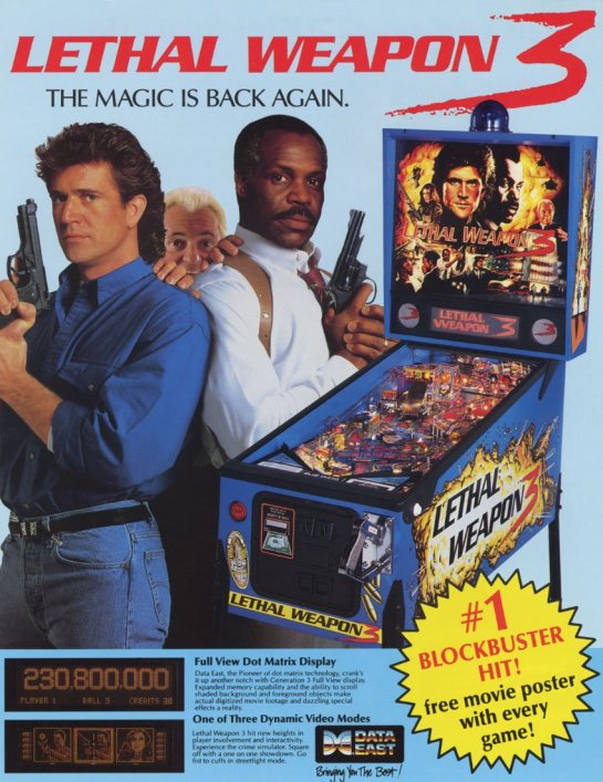 Lethal Weapon 3 pinball ad