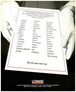 Lorimar International ad